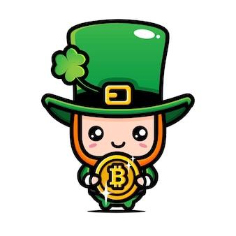 Desenho de leprechaun abraçando bitcoin