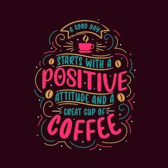 Desenho de letras coloridas com citações de café