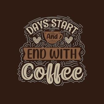 Desenho de letras de citações de café
