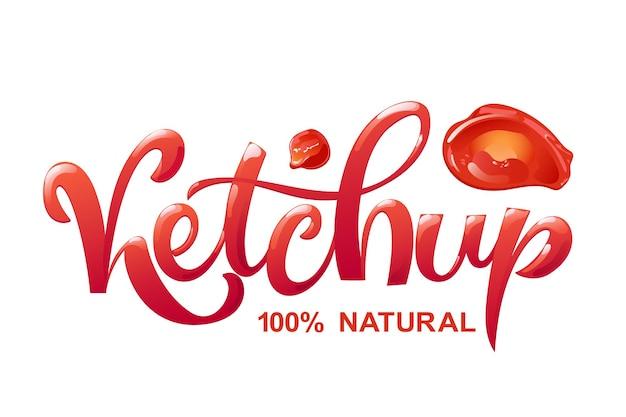 Desenho de letras de mão desenhada de ketchup. tipografia moderna em estilo cartoon plana com letras vermelhas brilhantes.
