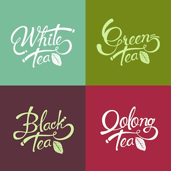 Desenho de letras desenhadas à mão - chá preto - chá verde - chá branco - chá oolong