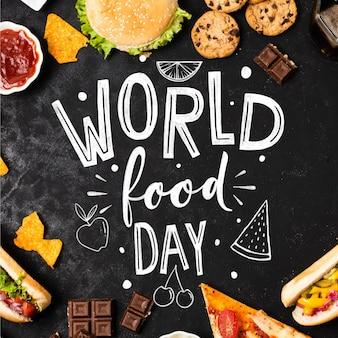 Desenho de letras do dia mundial da alimentação