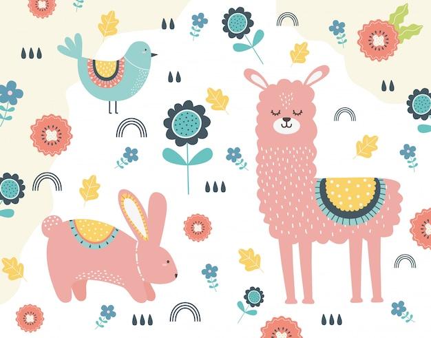 Desenho de lhama e coelho