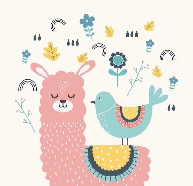 Desenho de lhama e pássaro