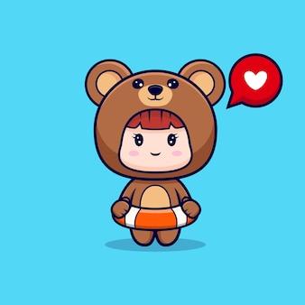 Desenho de linda garota com fantasia de urso pronta para nadar