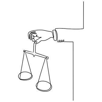 Desenho de linha contínua da balança da justiça nas mãos de um juiz