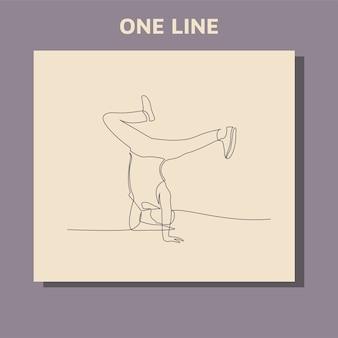 Desenho de linha contínua da dançarina de break executando alguns movimentos.