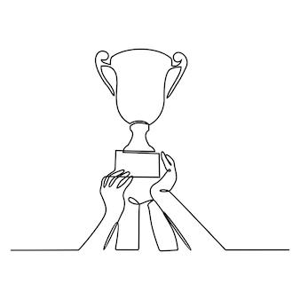 Desenho de linha contínua da equipe vencedora levantando o troféu