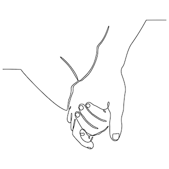 Desenho de linha contínua da mão da mãe com a mão do bebê conceito de maternidade familiar