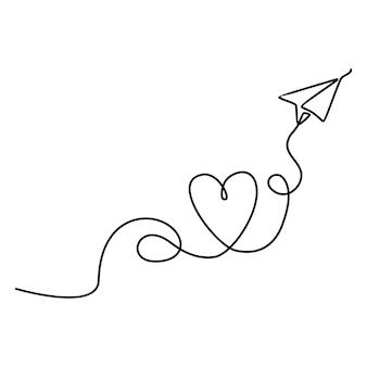 Desenho de linha contínua de avião de papel com ilustração de fumaça formando ilustração vetorial de amor