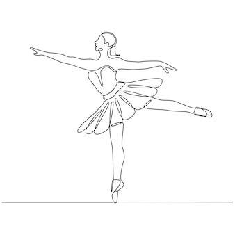 Desenho de linha contínua de bailarina profissional em ilustração vetorial de saia tutu