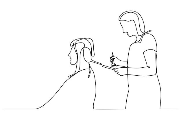 Desenho de linha contínua de cabeleireiro profissional aplicando tinta no vetor de cabelo dos clientes
