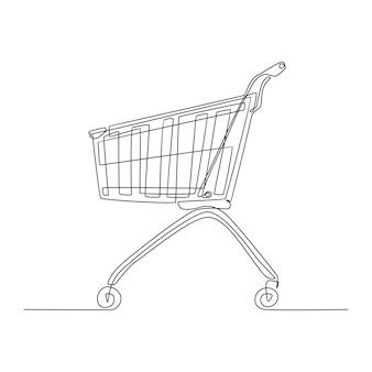 Desenho de linha contínua de carrinho para compras de design editável de forma abstrata para impressão de arte
