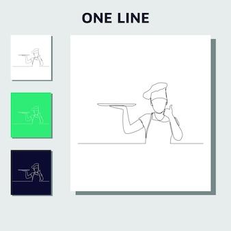 Desenho de linha contínua de chefs cozinha ou faz pão