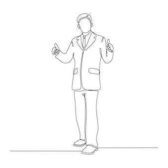 Desenho de linha contínua de empresário mostrando ilustração vetorial com polegares para cima