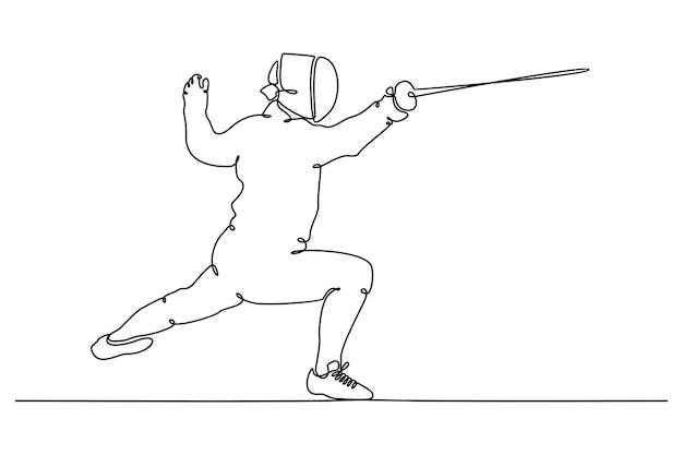 Desenho de linha contínua de esgrimista atlético com ilustração vetorial de espada