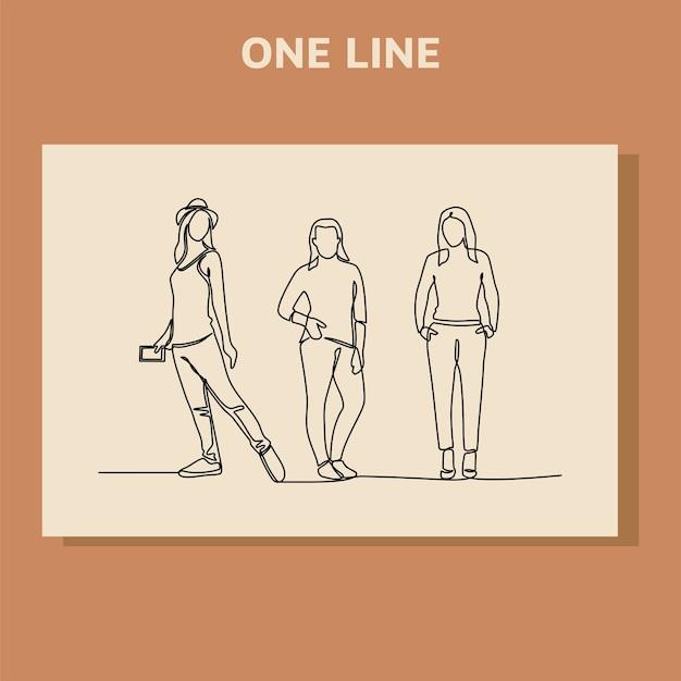 Desenho de linha contínua de grupo de pessoas.