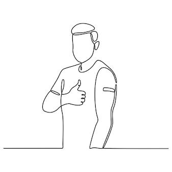 Desenho de linha contínua de homem vacinado com esparadrapo no braço mostrando vetor de polegar para cima