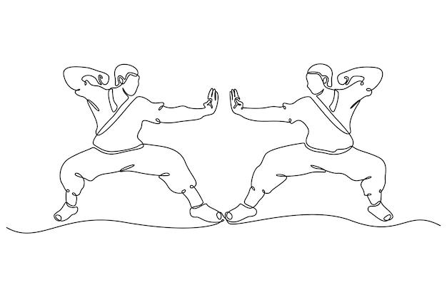 Desenho de linha contínua de ilustração vetorial de ação de kungfu