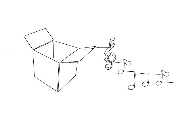 Desenho de linha contínua de ilustração vetorial de caixa de música