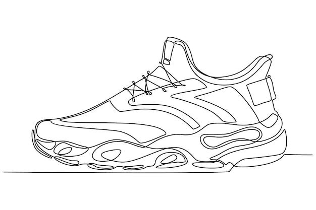 Desenho de linha contínua de ilustração vetorial de calçados esportivos