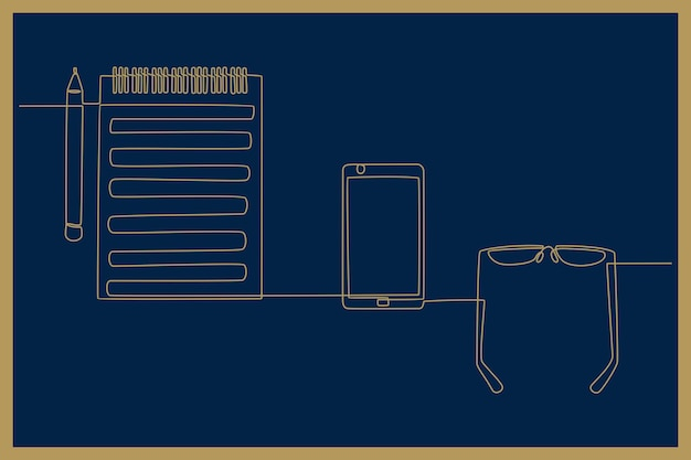 Desenho de linha contínua de ilustração vetorial de conceito de bancada de trabalho de equipamento