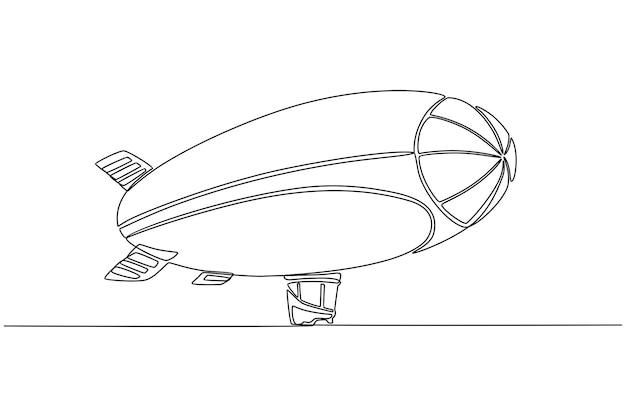 Desenho de linha contínua de ilustração vetorial de dirigível