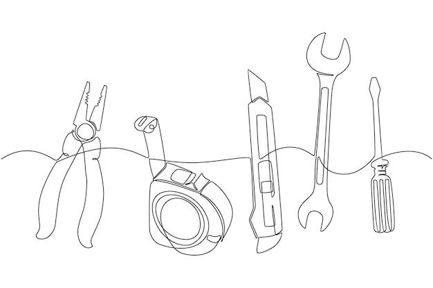 Desenho de linha contínua de ilustração vetorial de equipamento de carpintaria