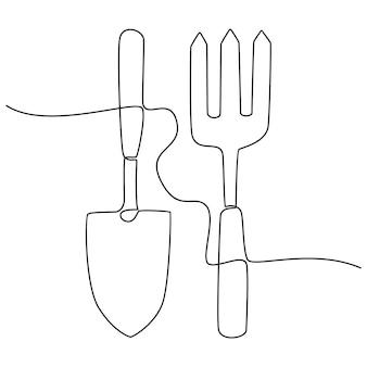 Desenho de linha contínua de ilustração vetorial de ferramentas de jardim