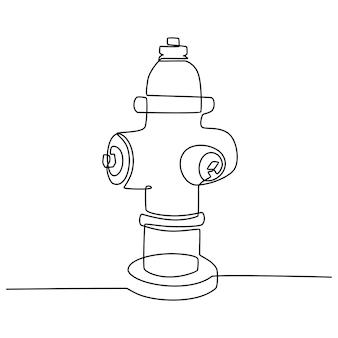 Desenho de linha contínua de ilustração vetorial de hidrante ou plugue de incêndio