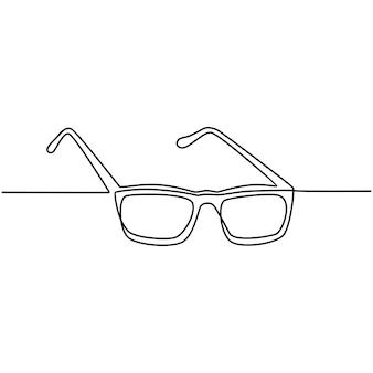 Desenho de linha contínua de ilustração vetorial de óculos