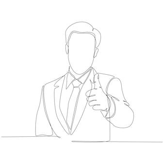 Desenho de linha contínua de ilustração vetorial de polegar para cima