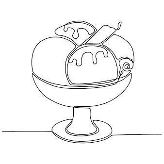 Desenho de linha contínua de ilustração vetorial de tigela de sorvete