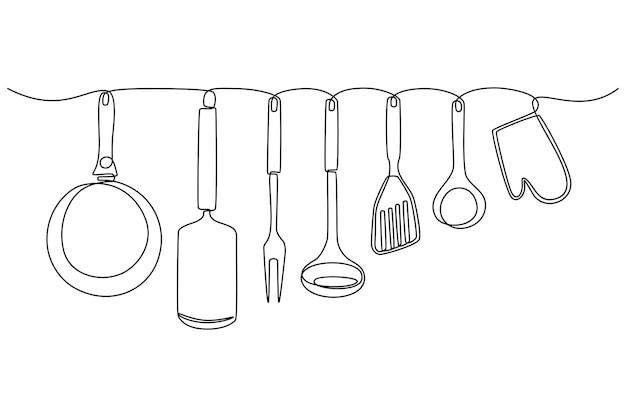 Desenho de linha contínua de ilustração vetorial de utensílios de cozinha