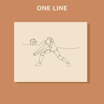 Desenho de linha contínua de jogadora profissional de voleibol