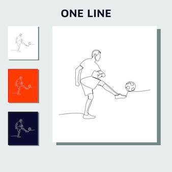 Desenho de linha contínua de jogadores de futebol de futebol em execução.