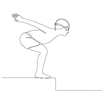 Desenho de linha contínua de jovem nadador profissional praticando esportes de piscina coberta