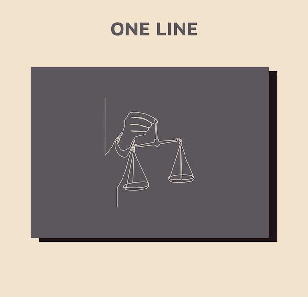 Desenho de linha contínua de justiça de escalas segurar o juiz na mão.