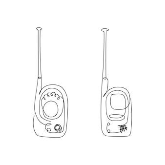 Desenho de linha contínua de kit de monitor de bebê uma linha de arte de babá walkietalkie