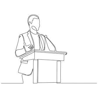 Desenho de linha contínua de locutor masculino dando ilustração vetorial de fala