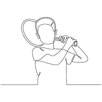 Desenho de linha contínua de menino com ilustração vetorial de raquete de tênis