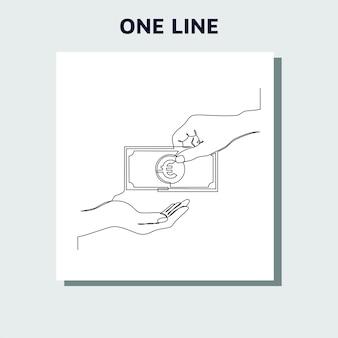 Desenho de linha contínua de moeda circula euro