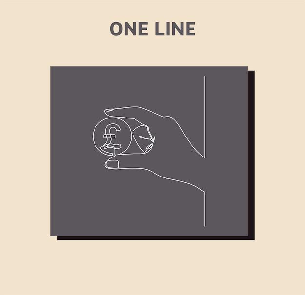 Desenho de linha contínua de moeda circula libra esterlina