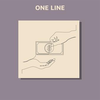 Desenho de linha contínua de moeda circulando dólar