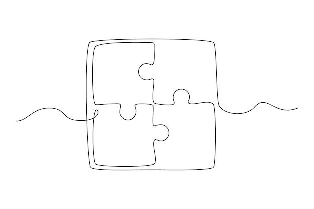 Desenho de linha contínua de peças unidas de jogo de quebra-cabeça conceito de trabalho em equipe ilustração vetorial