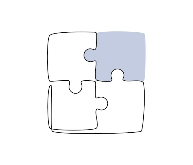 Desenho de linha contínua de peças unidas de vetor de conceito de cooperação em equipe de jogo de quebra-cabeça