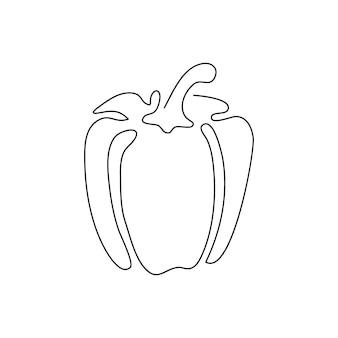 Desenho de linha contínua de pimentas. uma arte de linha de pimentão, vegetal.