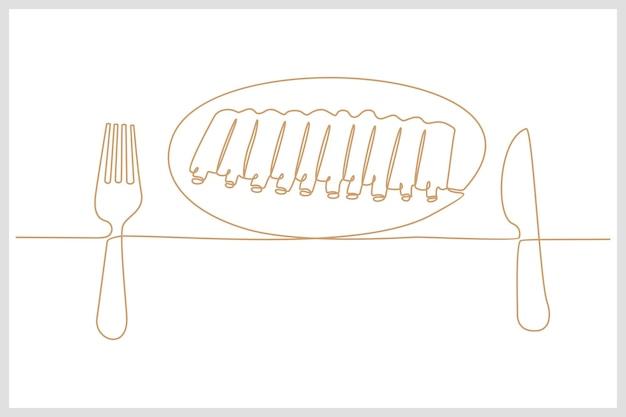 Desenho de linha contínua de prato de carne de costela de cordeiro com ilustração vetorial de faca e garfo