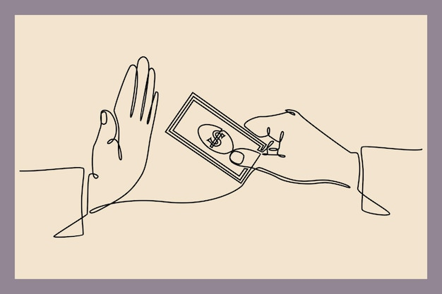 Desenho de linha contínua de recusa em pagar contas de dinheiro, empréstimo de suborno e vetor de conceito de finanças