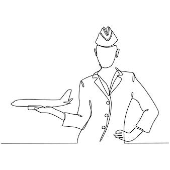 Desenho de linha contínua de um comissário de bordo segurando um avião na mão ilustração vetorial